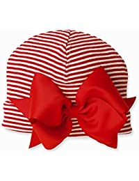Mud Pie Baby-Girls Striped Bow Holiday Hat (0-6 Months)
