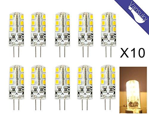 10pcs G4 4W LED-Lampe, DC12V 3000K warmweiß, 240-260LM, 24 SMD 2835 LED Energiesparlampen, keine Verschmutzung, keine UV, Infrarot und thermische Strahlung, umweltfreundlich.