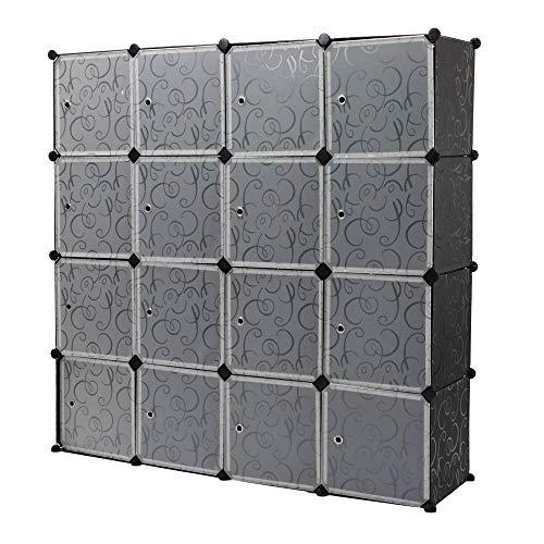 PrimeMatik - Armario Organizador Modular Estanterías de 16 Cubos de 35x35cm plástico Negro con Puertas y Dibujos