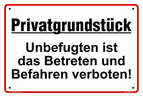 Hochwertiges Privatgrundstück Schilder aus Alu 30x20 cm - Unbefugten ist das Betreten und Befahren verboten - Original Protecticure inkl. 4 Lochbohrungen - Verbotsschild Grundstück