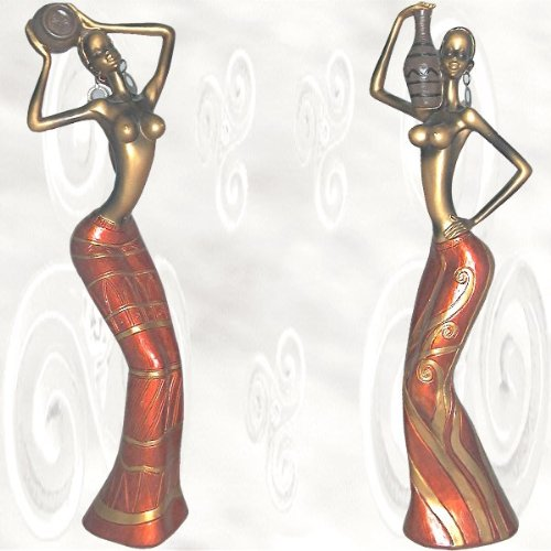 29 Zubehör-regal (2 Afrikanische Figuren Frau Frauen Figur Skulptur Skulpturen Tänzerin Tänzerinnen Afrika Africa [Höhe ca. 29 cm])