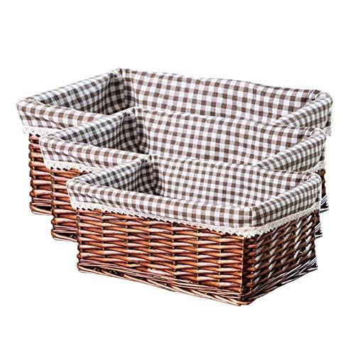 Desirabely Rechteckiger Ablagekorb, 3Pcs / Set Wicker Ablagekorb Rattan Ablagekorb Haus Schmutzige Kleidung Korb Woven Korb Obstkorb Picknick -