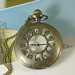 Bronze Sun Rays Hollow Pendant Watch with White Inner