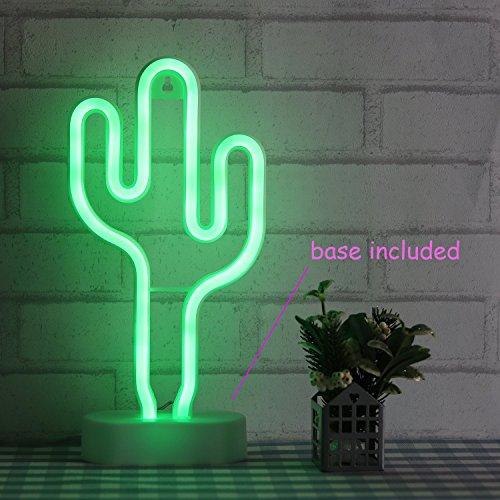 Kaktus-Neonlicht|Grüne Wandleuchte|Leuchtreklamen für Schlafzimmer Kinder mit Tischständer|Kinder Schreibtischlampe|Batterie und USB Angetrieben|LED Neonröhren (NECAC)