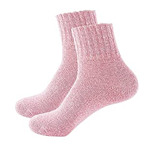 Amosfun Women's Cotton Vintage Style Fashion Warm Thick Socks (Pink)