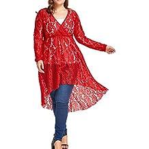 FEITONG Damen Tops Frau V-Ausschnitt Shirt Pullover Sommer Bluse T-shirt Langarm Bluse Unregelmäßige Oberteile Hemd Tops Plus Größe