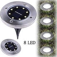 Lámpara LED solar de suelo, ROUT infly begraben Luz 8LED Outdoor lámpara Garden Path Way nytex, Kaltes Weiß, medium