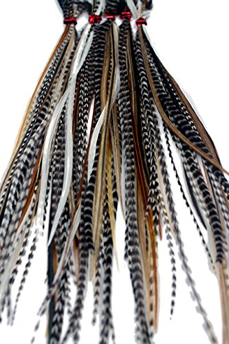 Natürliche Federn für Haarverlängerung, lange Federn mit Ringen & Befestigungsband (B-Klasse), 20 Stück
