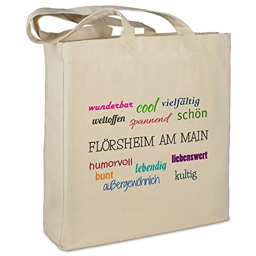 """Stofftasche mit Stadt/Ort """"Flörsheim am Primary """" - Motiv Positive Eigenschaften - Farbe beige - Stoffbeutel, Jutebeutel, Einkaufstasche, Beutel"""