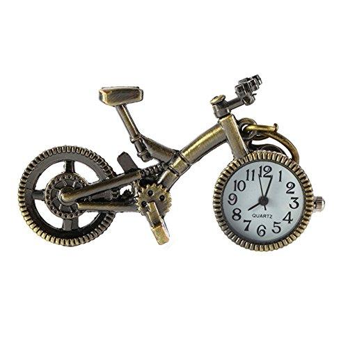 homeofying Vintage Bronze Bike Schlüsselanhänger Armbanduhr Uhr Pocket Anhänger Quarz Schlüsselbund Geschenk-Bronze