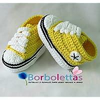 Stivaletti per Bambino, tipo Converse, Giallo 3-6 mesi. Handmade. Uncinetto. España