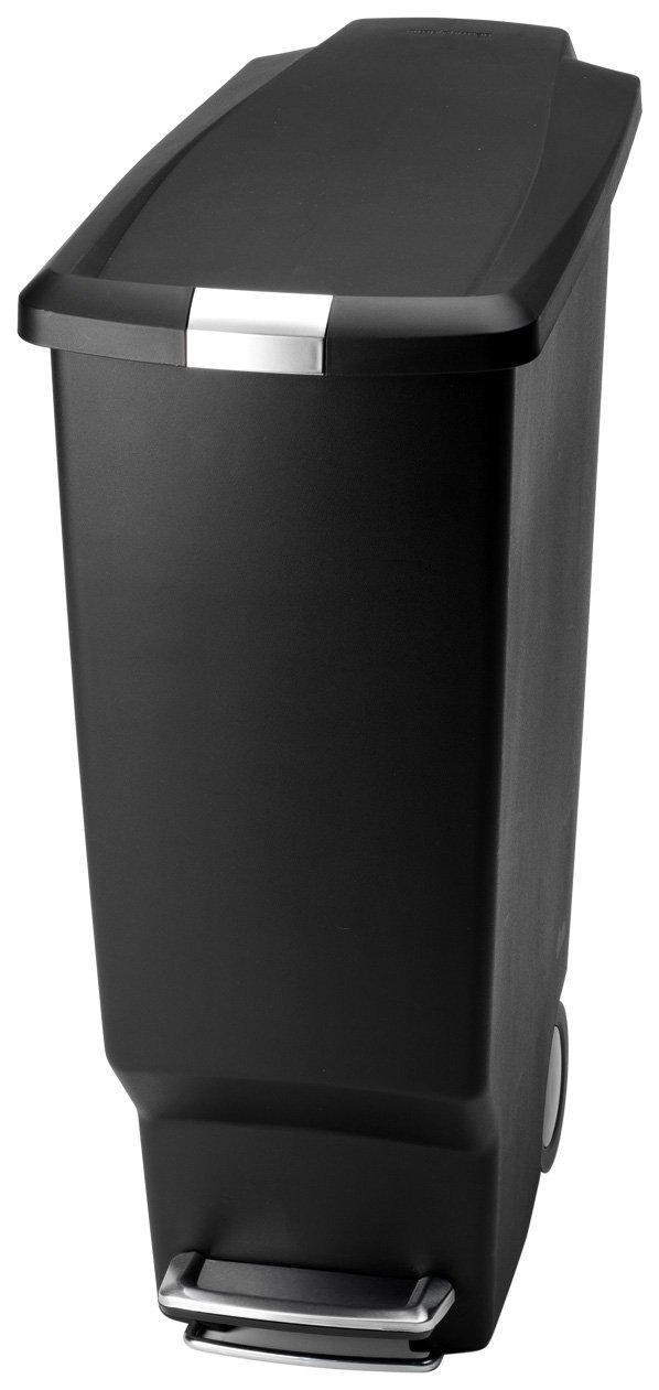simplehuman Pattumiera sottile in plastica, 40 l, colore: Nero