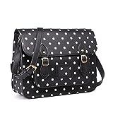 Miss Lulu Brand Vintage Designer Polka Dot Faux Leather Work Briefcase Satchel Bag School Bag, Polka Dots Black,