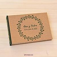 SPHINGE – Libro de firmas personalizado con tu nombre y fecha grabado en portada | 80 hojas papel reciclado o blanco | Libro de invitados para boda comunión bautizo cumpleaños jubilación | Album