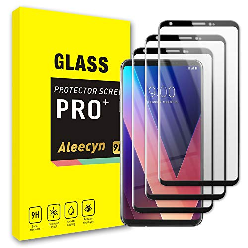 3er-Pack LG V30 Glas-Displayschutzfolie Premium 3D Full Coverage Curved Edges Tempered Glass Screen Protector Film, 9H Härte, Case Friendly -