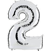 GLOBO Número 2en plata–XXL gigante Número 100cm–Para aniversario & Co–Party Regalo de cumpleaños Decoración Globo Globo de aire Happy Birthday