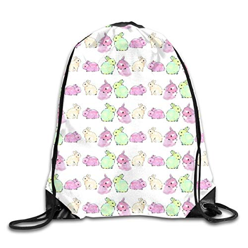 show best Bunny Rabbit Watercolour Drawstring Gym Bag for Women and Men Polyester Gym Sack String Backpack for Sport Workout, School, Travel, Books 14.17 X 16.9 inch