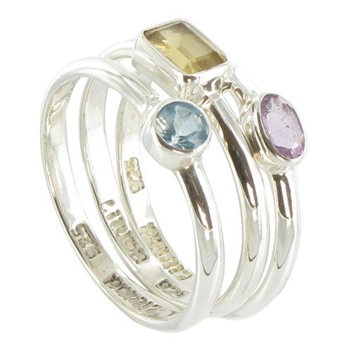 Les Poulettes Jewels - Set of 3 Sterling Silver Rings - Citrine Topaz Amethyst Stones