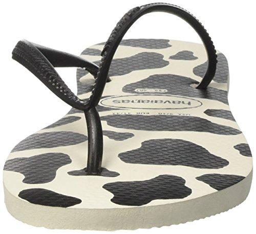 Havaianas Slim Animals, Tongs Femme Multicolore (White/Black 0128)