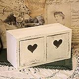 Vintage Dekokästchen weiß, 2 Schubladen mit Herz, 24x10x12,5cm Holzregal Kiste