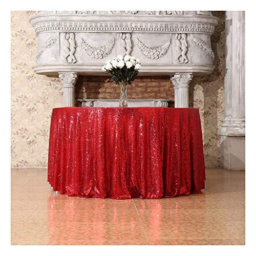 3E Home Runde Pailletten-Tischdecke für Party, Kuchen- oder Dessert-Tisch, Ausstellungen, Veranstaltungen, Polyester, rot, 72