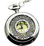 Infinite U Hollow Flowers/Pattern Big Quartz Pocket Watch Arabic Numerals Silver