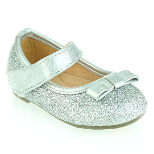 Kinder Mädchen Sparkly Bogen Detail Klettverschluss Baby Flach Pump Gepolsterte Sohle Ballet Sandale Schuhe Größe Silber