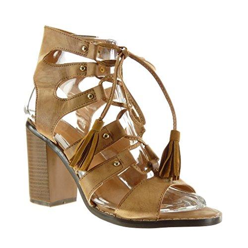 Angkorly - damen Schuhe Sandalen Stiefeletten - Römersandalen - Sexy - Fransen - Bommel - Nieten - besetzt Blockabsatz high heel 9.5 CM Camel