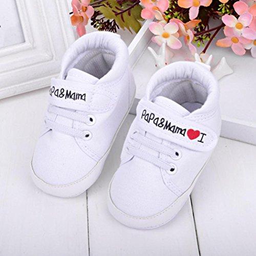 Clode® Baby Boy Girl Kleinkind Segeltuch Turnschuhe Freizeitschuhe ;weiche alleinigen Schuhe für 0-18 Monate Baby Weiß