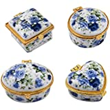 Vaibhav Ceramic Storage Box Home Decoration Set Of 4 (Blue)