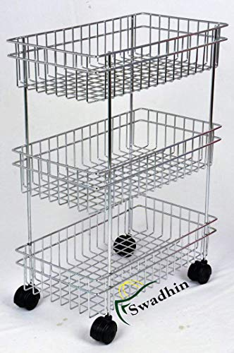 Swadhin 3 Layer Fruit and Vegetable Stand/Basket/Trolley Modern Kitchen Storage Rack (22 H x 16 L x 9 W (Inch))