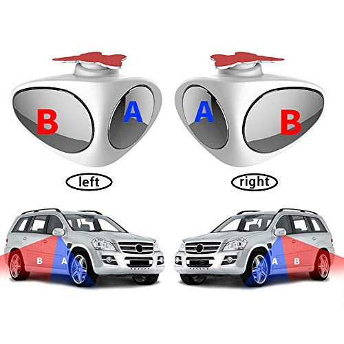TEAMWIN Auto Toter Winkel Spiegel Auto Blind Autozubehör Beweglicher Spiegel 2 Stück für Den Blindspot Bei Anhänger und Wohnwagen (weiß)