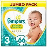 Pampers Premium Protection Windeln, Größe 3 Midi (6-10 kg), Jumbopack, 1er Pack (1 x 66 Stück)