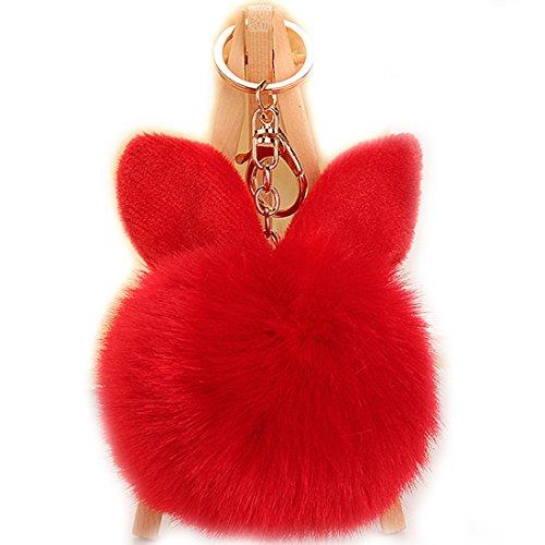 URSFUR Schlüsselanhänger aus Kunstfell Kaninchen Fellbommel Bommel Geburtstagsgeschenk Taschenanhänger (Rot)