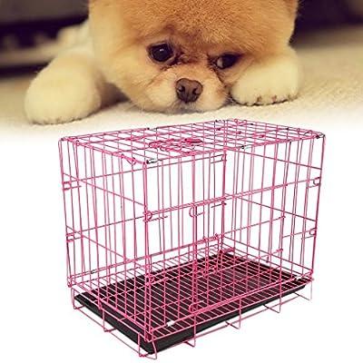 TataYang Double-Door Folding Metal Dog Crate - 2 Door Wire Cage/Home (pink)