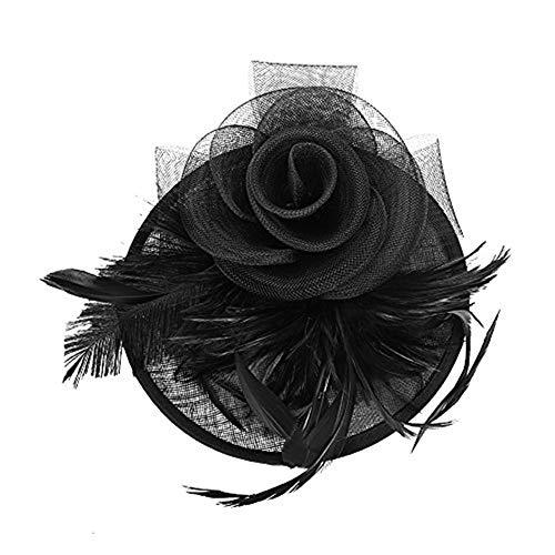 Fascinator Damen Frauen Braut Haarschmuck aus Mesh Federn Pillbox-Hut elegant Netzschleier vintage Headwear Haar Accessoire Kopfbedeckung Blumen Stirnband für Karneval Tea Party Cocktail Cosplay -