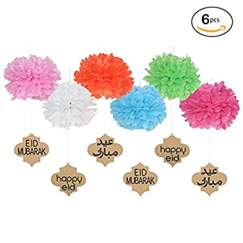 Lembeauty 6pcs Seidenpapier Flower Ball Hängen Pom Mit Eid Mubarak Tags Für Party Einkaufszentrum Aktivitäten Fenster Decor 0