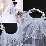 OULII Velluto da ragazza di fiori due strati velluti di pizzo corona di  capelli di comunione di nozze (bianco) bcdf3d974284