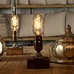 Yuens Lámparas de mesa Vintage Loft Dimmable Lámpara de mesa de madera Home Light Bar Decor