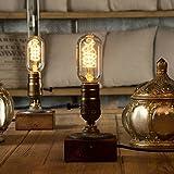 Yuens Lámparas de mesa Vintage Loft Dimmable Lámpara de mesa de madera Home Light Bar Decor