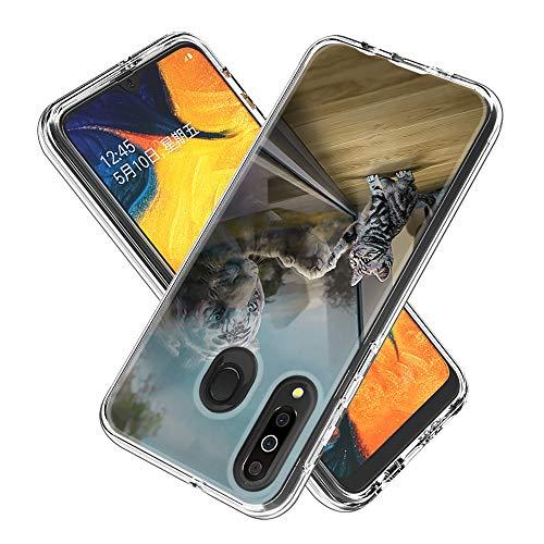 Miagon 2 in 1 Hart PC und Weich TPU Innere Durchsichtig Klar Hülle für Samsung Galaxy M30,Bunt Muster Anti Gelb Stoßfest Handyhülle Schutzhülle Bumper Case,Spiegel Katze