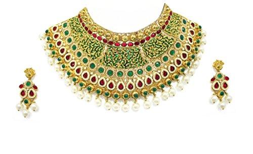 Zaveri Pearls Non Precious Metal Gorgeous Enamelling Jodha Necklace Set -ZPFK2380 (Multicolor) for Women