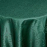 Moderno Tischdecke Tischtuch Damast Ornamente mit Saum, Eckig Oval Rund Größe und Farbe wählen oval 140x190 cm in Dunkel-Grün - Premium Qualität mit umgenähtem Rand und Öko Tex Zertifikat