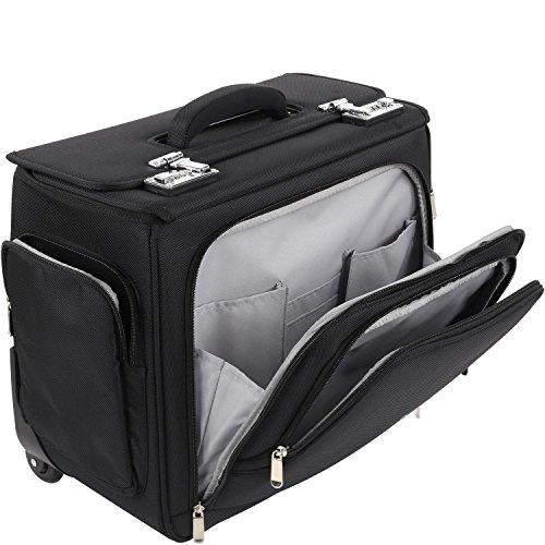 Aktenkoffer Mit Rädern Laptop-taschen (Business Akten Pilotentrolley Koffer Laptop-Fach 43x37x24 cm Schwarz Bowatex)