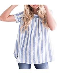 LeeY Damen Sommer Sexy Lose T-Shirts Mode Beiläufig Gestreiften Bluse Tops  Tunika Frauen Rundhals Slim Gemütlich Kurzarm Oberteile… 2665c48460