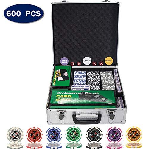 D4P Display4top Pokerkoffer Laser Pokerchips Poker 12 Gramm , Automatischer Kartenmischer, Handelsschuh, Händler, Small Blind, Big Blind Tasten und 5 Würfel, mit Aluminium-Gehäuse (600 Chips)