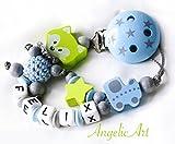 Schnullerkette mit Namen - Junge Mädchen - VIELE MODELLE - Häkelperle 3D Tiere Motivscheiben (001 lemon, blau)