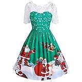 SamMoSon Damen Casual Rundhals Langarm Herbst Kleider Festliches Kleid (Grün,S)