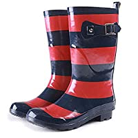 dripdrop Ladies Wellington Boots Designer Knee high Blue red Stripe rain Wellies Size 6