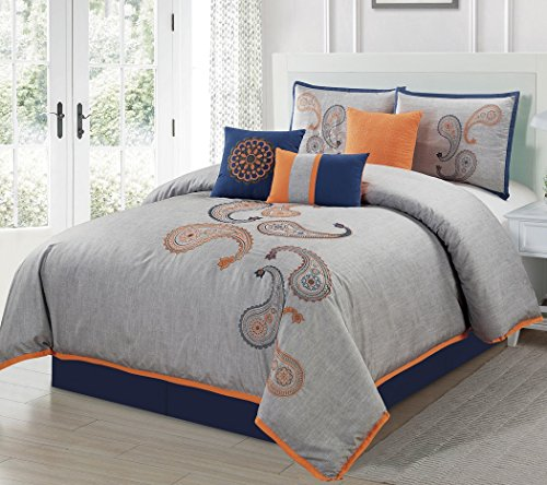 chezmoi Kollektion Naomi 7-teilig marineblau orange Paisley Floral Stickerei Tröster Betten-Set (König)
